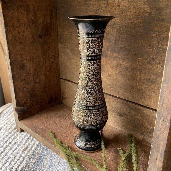 Black Etched Solid Brass Vase Genie Bottle Vase